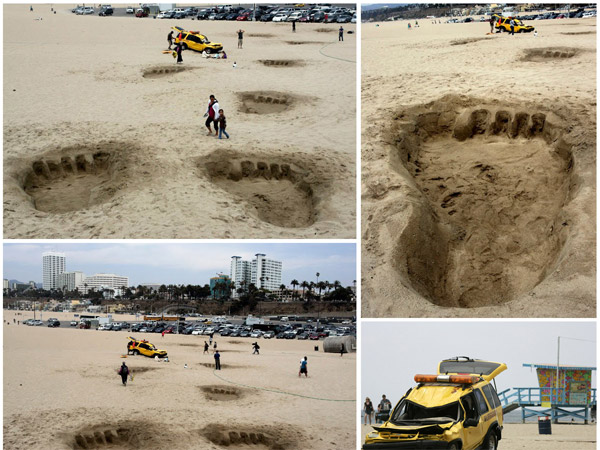 Giant footprints in the sand called attention to the release of King Kong 3D into theaters!